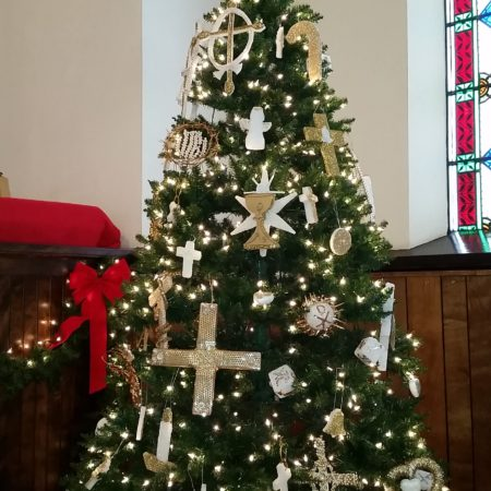 Church Crismon Christmas Tree