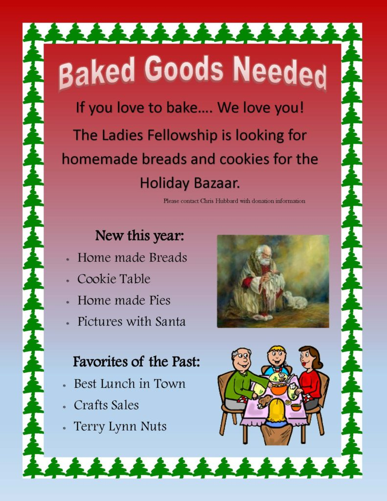 Holiday Bazaar - Baked Goods Needed